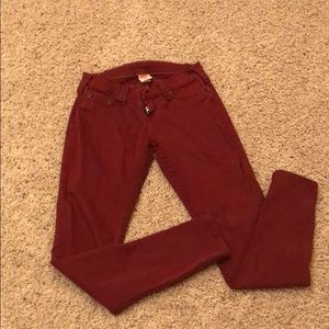 True religion burgundy skinny jeans